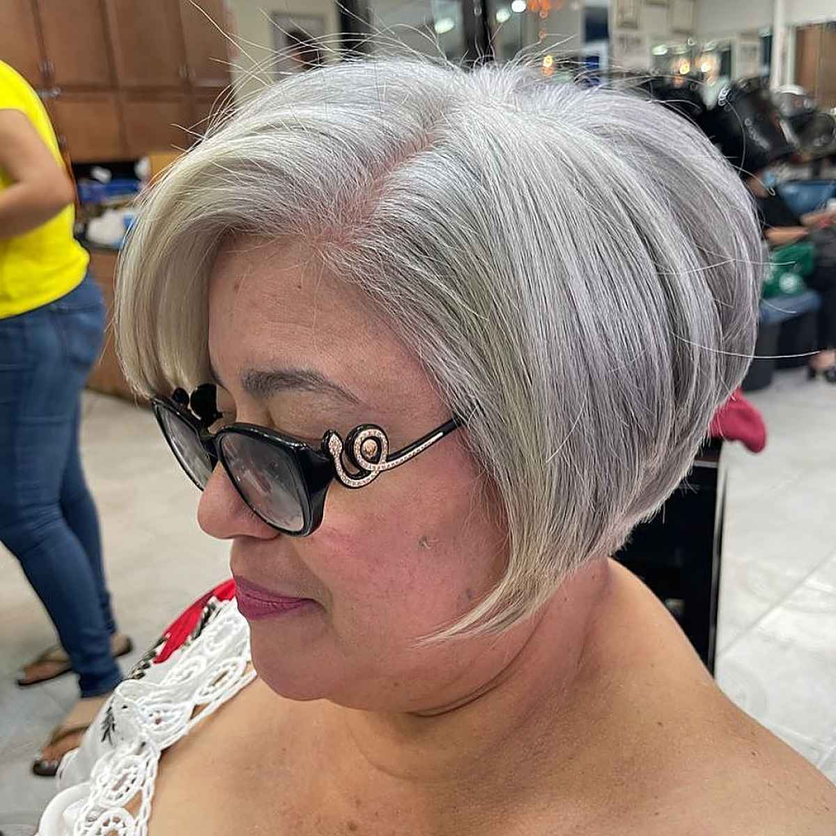 grey colored wedge cut for older women over 60
