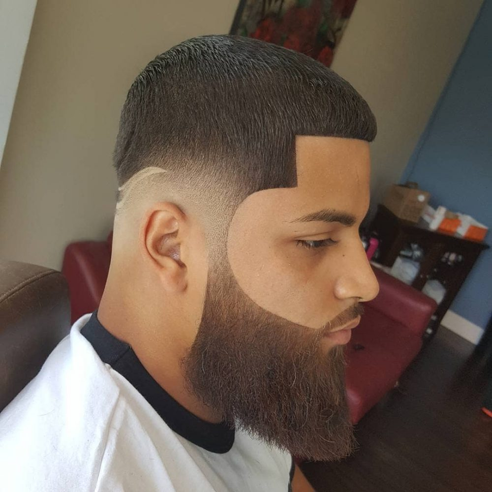 Haircut with mid-taper fade and line-up