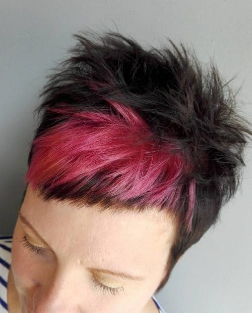 Edgy short pixie cut with pink bangs
