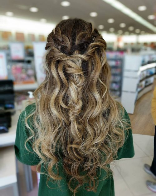 Half up half down boho braid for prom