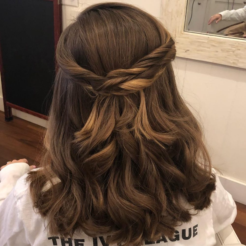 Half Updo with Loose Curls hairstyle