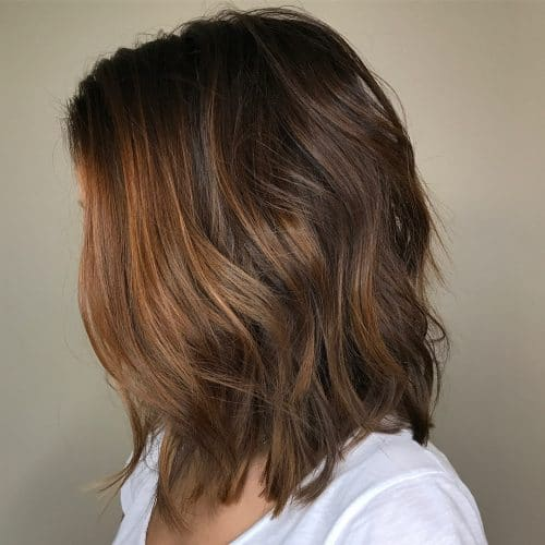 Chocolate brown hair with copper highlight