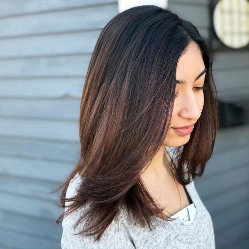 Picture of a head turning caramel brown hair