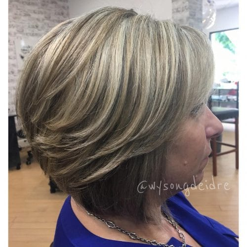 A heavily Layered & stacked short bob haircut