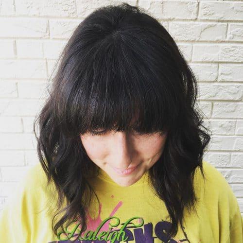 Awesomely heavy fringe on short hair