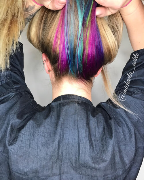 Blonde Hair With Color Underneath: 29 Stunning Rainbow Hair Color Ideas Trending In 2020