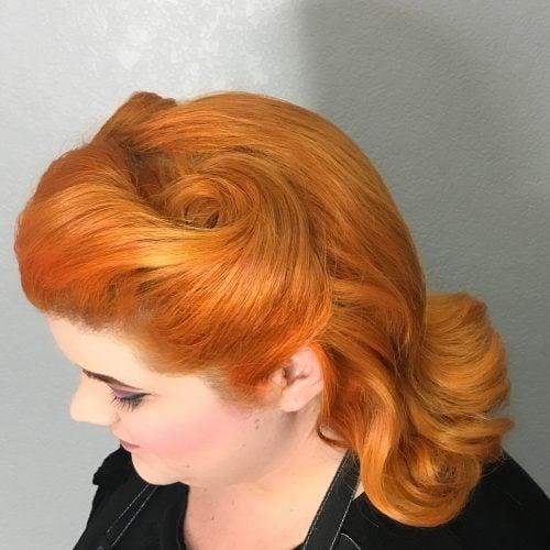 Hidden Pin Curl Swirl hairstyle