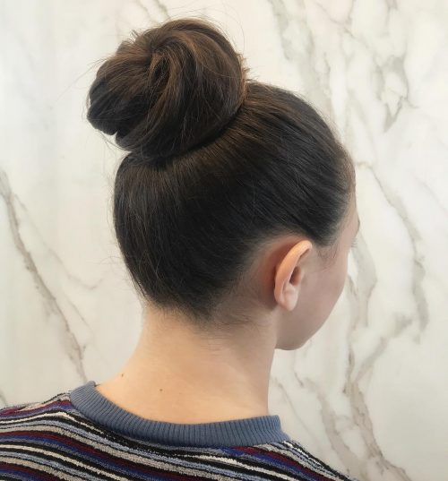 Picture of a high bun simple updo