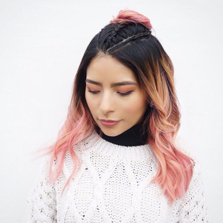 High Contrast Peach Balayage hairstyle