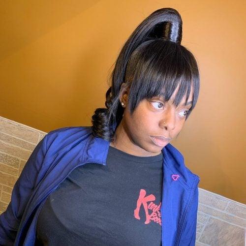Genie ponytail with bangs