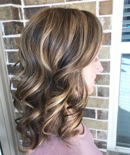 Picture of highlighted curls curled hairstyle