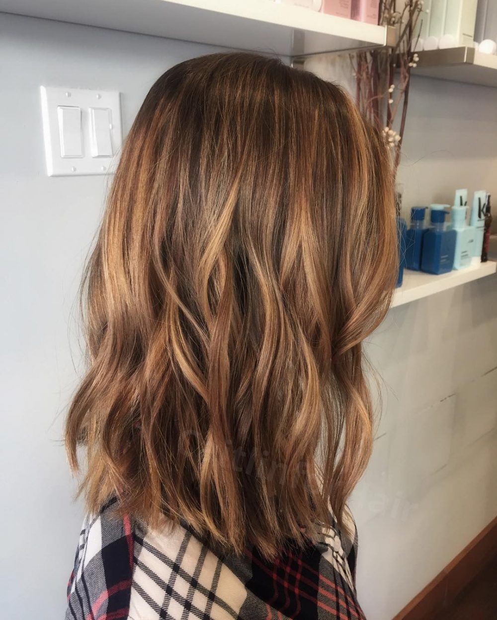 Honey Highlighted Lob hairstyle