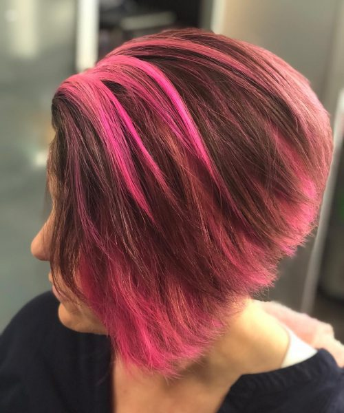 Picture of a hot pink a-line punk hairstyle