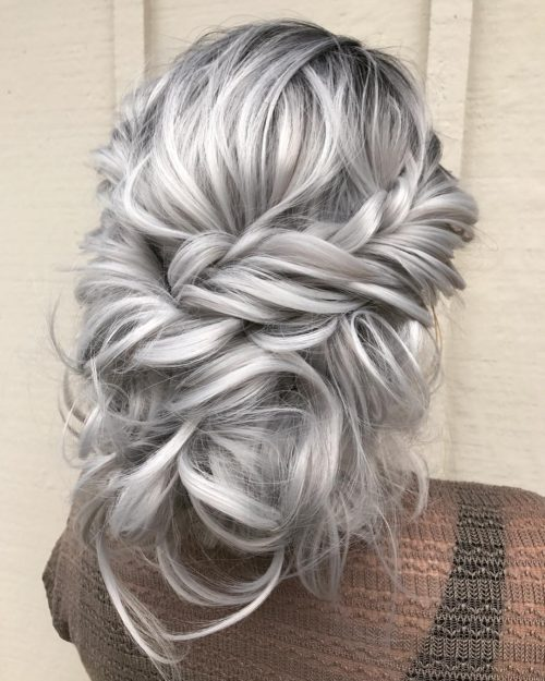 Picture of a hot silvery messy updo