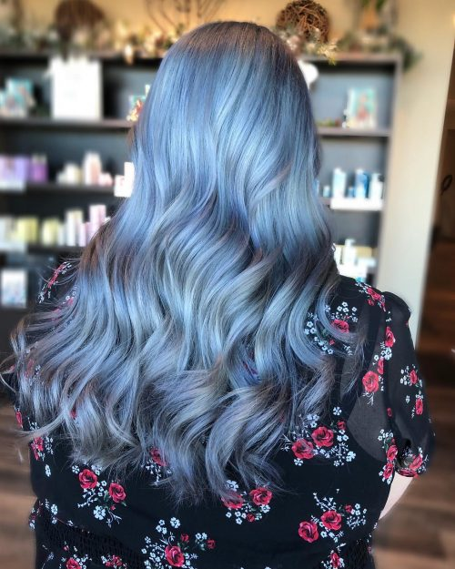 Blue Silver Hair Color Instagram Ashleylynn