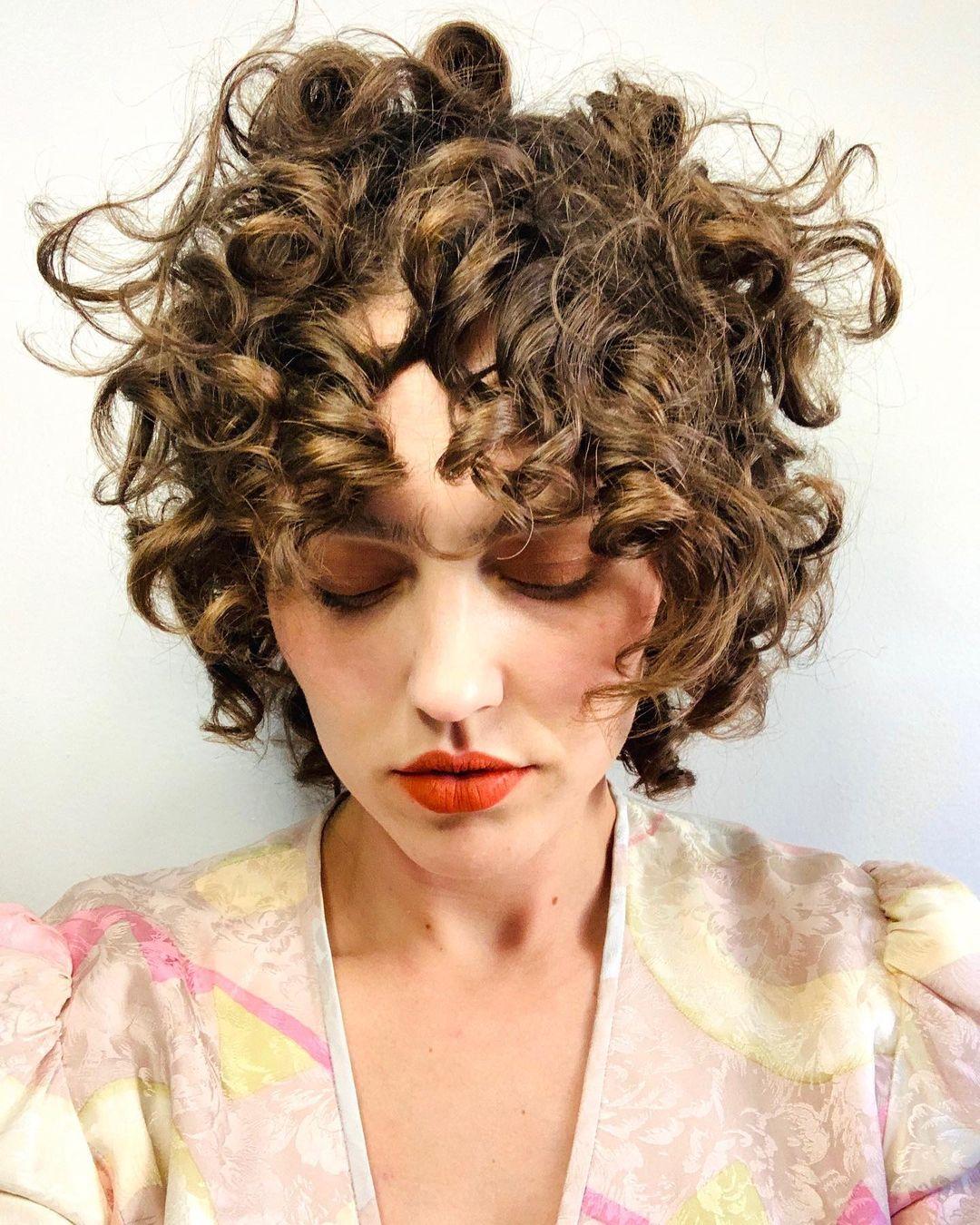 Inspiring Curly Long Bangs