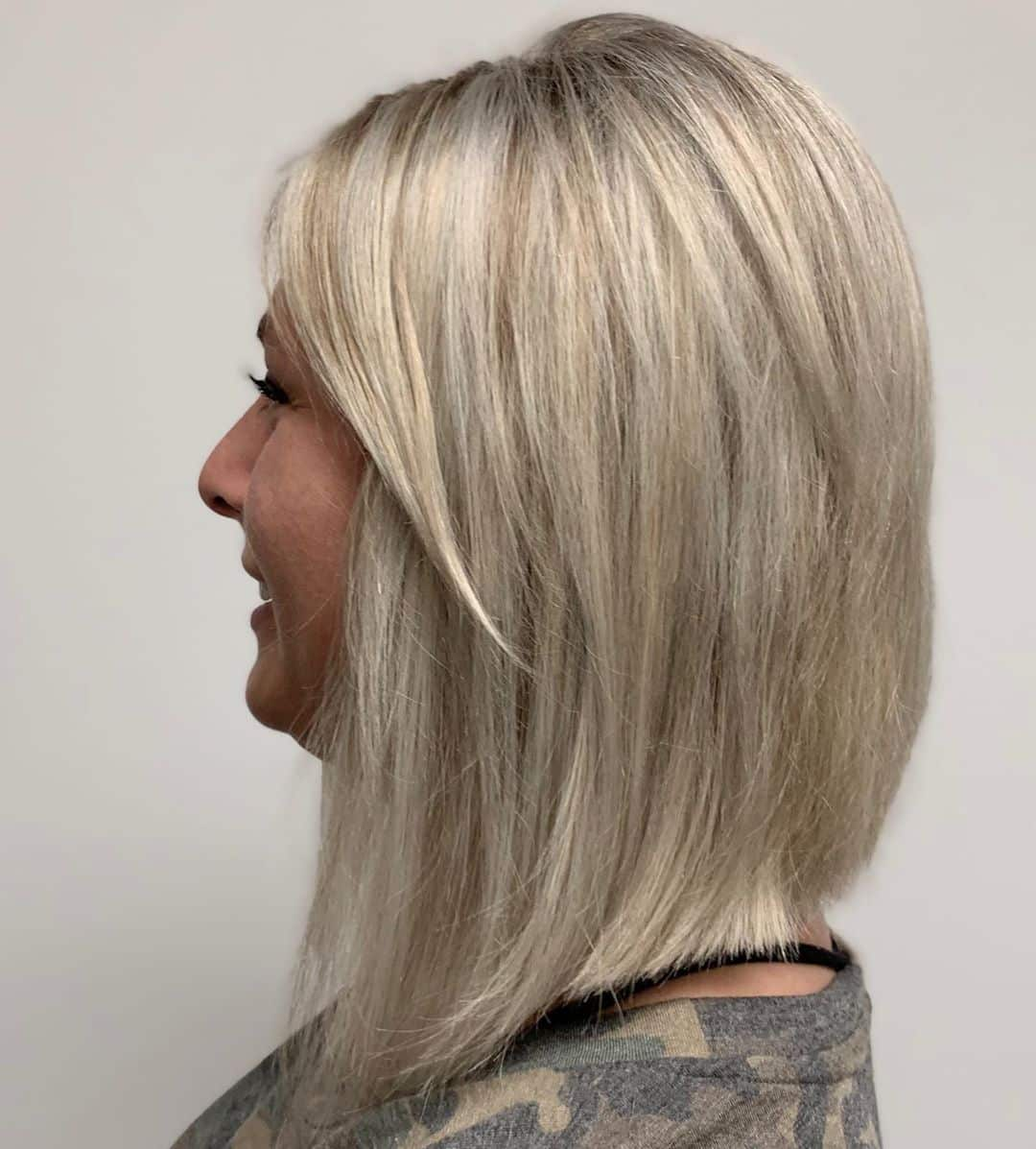 inverted bob for a woman over 50 with thick hair