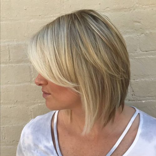 Inverted Bob with Bangs and Highlights