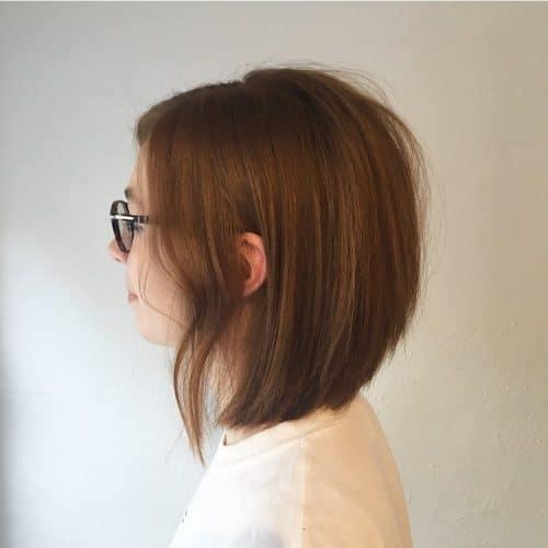 A short layered blunt bob haircut