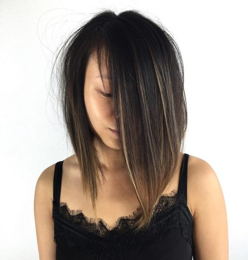 Jet Black Hair with Golden Blonde Highlights