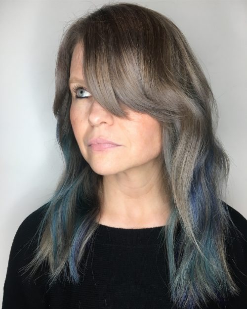 Picture of jewel toned hair with bangs for heart shaped faces