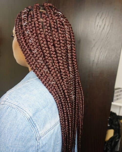 Jumbo burgundy box braids