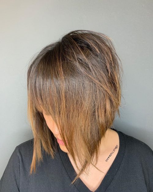 Layered a line bob with see-through bangs