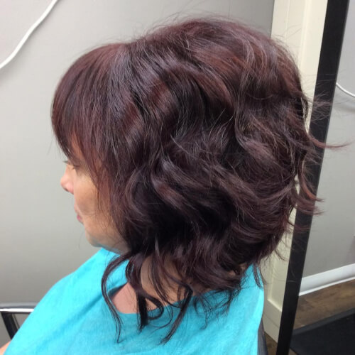 Layered auburn hair color lob cut