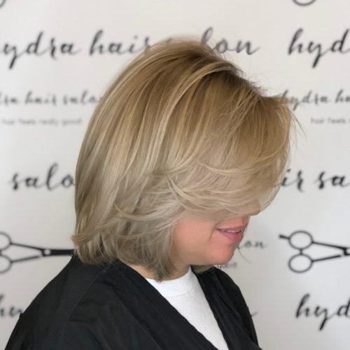 A medium layered bob with side bangs