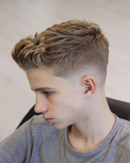 Swept up fade taper short haircut for men
