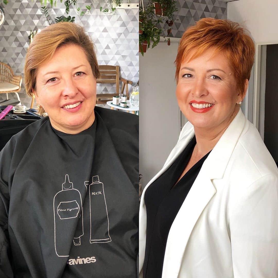 Pixie en capas para mujeres mayores con cabello fino o cabello fino