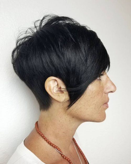 Black Layered Pixie With Long Bangs