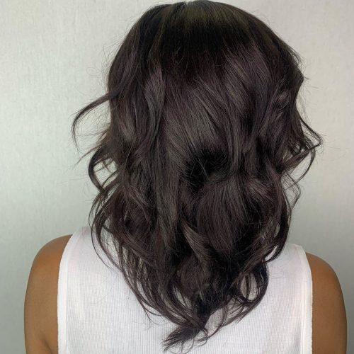 Layered shoulder-length v-cut hair