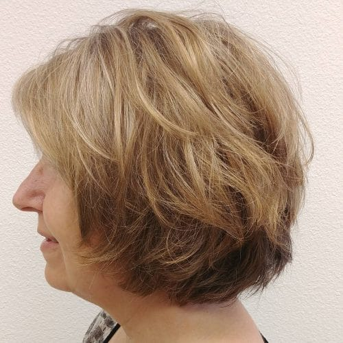 Layered Bob with Side-Swept Bang hairstyle
