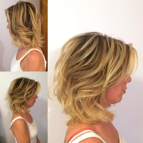 A layered and texturized bob haircut