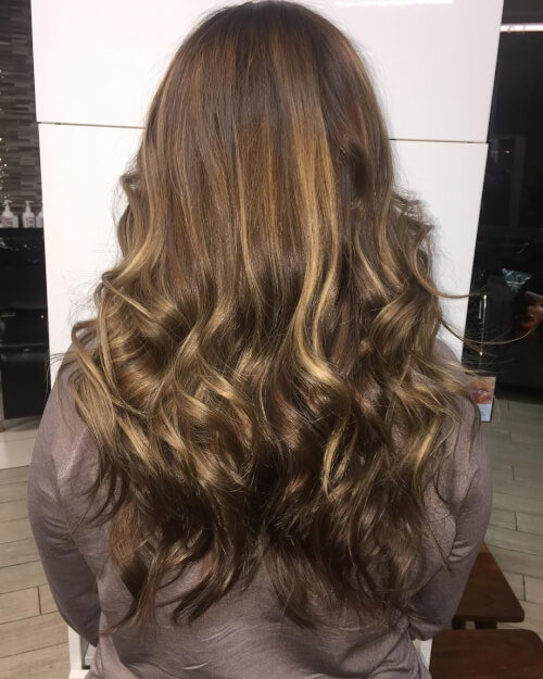 Light blonde hair with caramel lowlights
