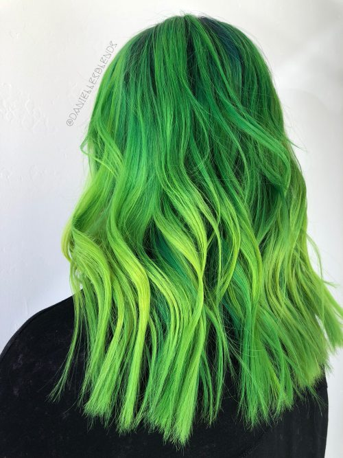 light  dark green hair colors  ideas