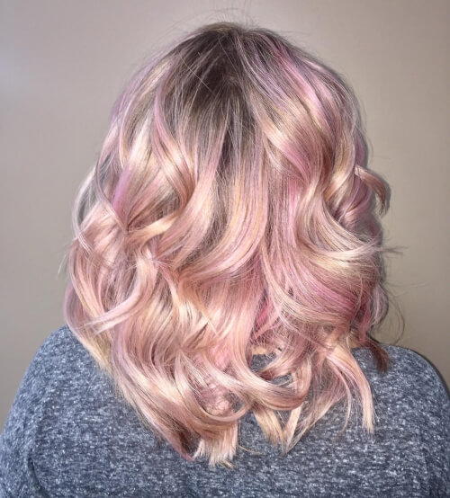 Lived In Rose Gold Balayage Hair Color
