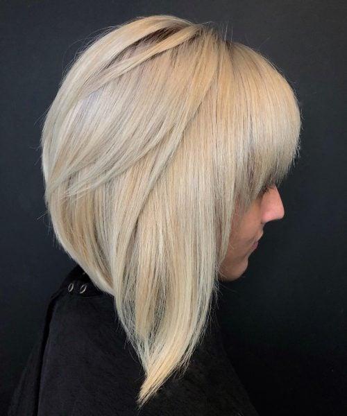 Cabello rubio bob flequillo largo para cabello grueso