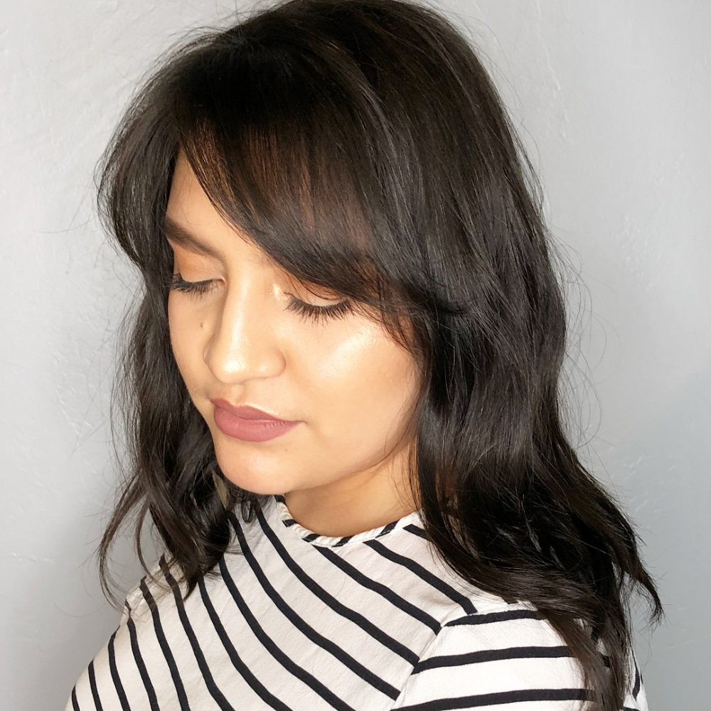 Lob with Side-Swept Fringe hairstyle