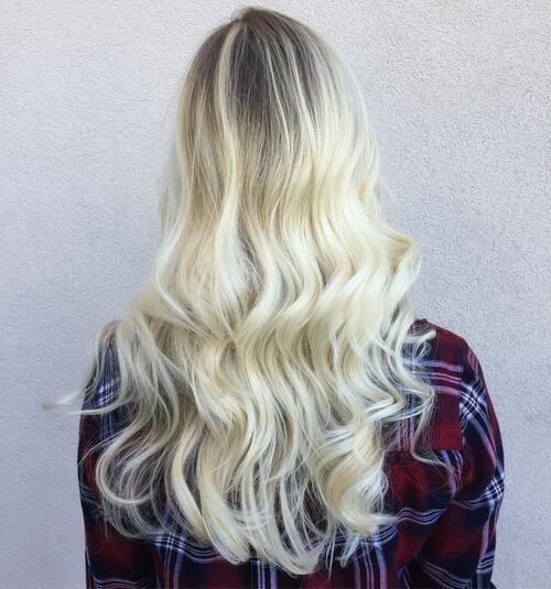 Platinum to honey blonde hair color