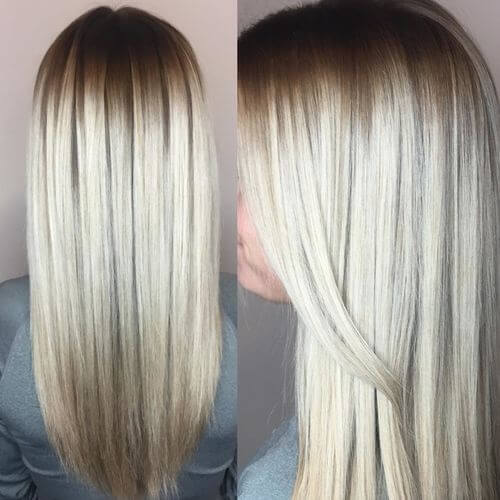Gorgeous platinum blonde highlights