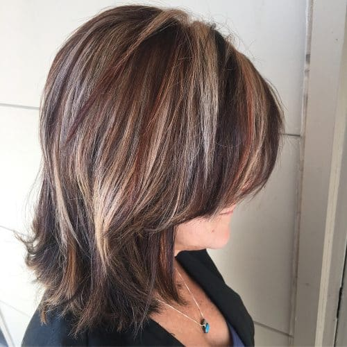 Long Bob With Blonde and Red Highlights