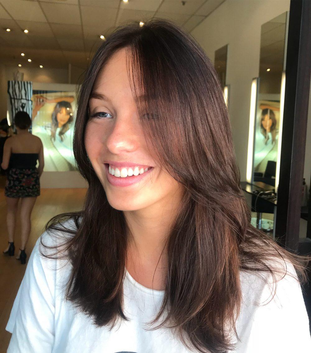 Long, Chocolate-Hued Bangs hairstyle