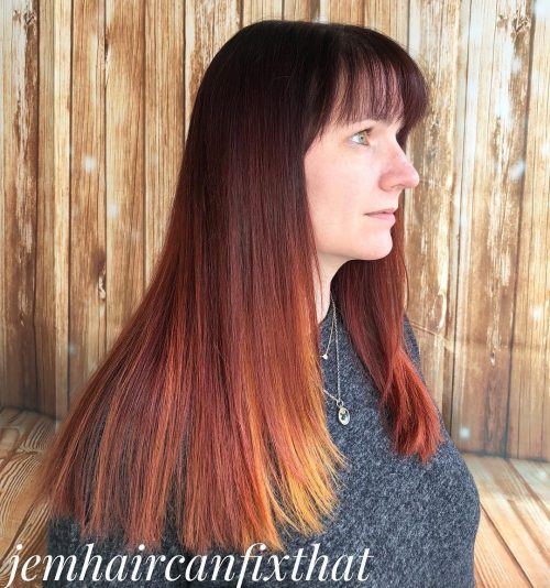 Long Copper to Merlot Ombre