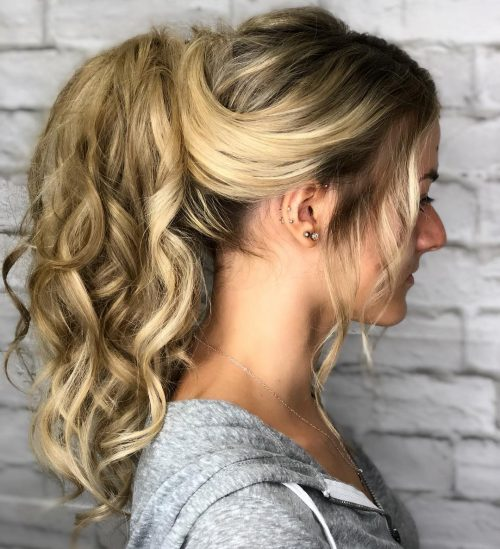 Long curly blonde ponytail