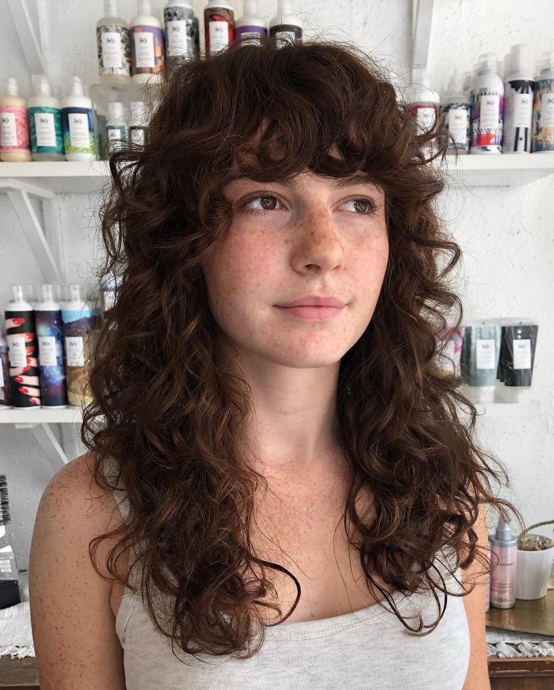 Impressive Shag Cut for Long Curly Hair with Curly Fringe