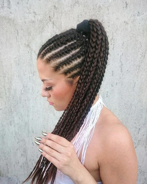 Picture of a long French braid cornrows