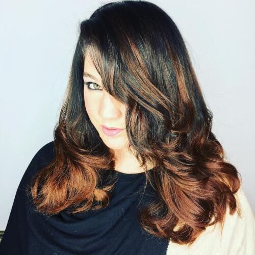 Long layered haircut with balayage color