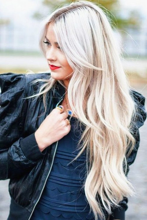 Long layered hair with platinum color